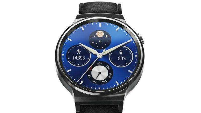 Huawei Watch W1, Stainless Steel, Leather, Black